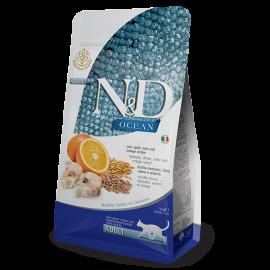 N&D Ocean Morina Balığı &Yulaf ve  Portakal Adult Kedi Maması 1.5 KG
