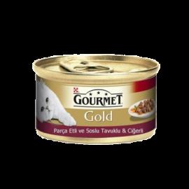 Gourmet Gold Parça Etli Tavuklu ve Ciğerli Kedi Konservesi 85 gr
